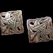 Open work Silver Pierced Earrings