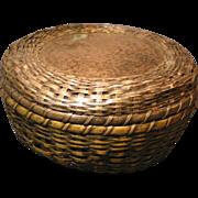 Lidded Metal Woven Basket, circa 1915 - Red Tag Sale Item