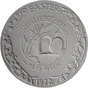 "Frankoma 1972 Easter plate, ""He is Risen"""