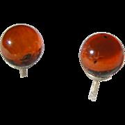 Amber Globe earrings; stud posts