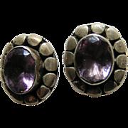 Amethyst and Sterling Silver pierced earrings