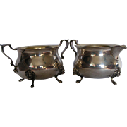 Poole Georgian Sterling Silver Cream and Sugar