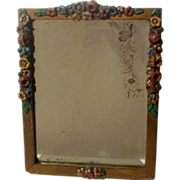Painted Roses Wood BARBOLA Picture Frame Beveled  Mirror