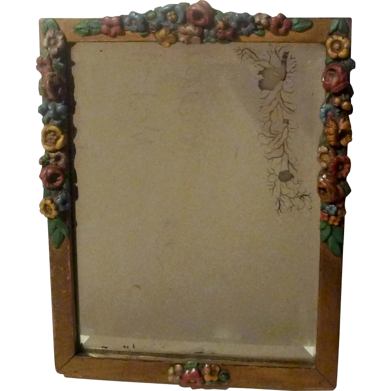 BARBOLA Painted Roses Wood  Picture Frame Beveled  Mirror