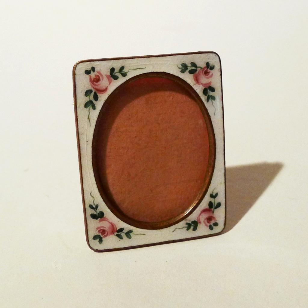 Czechoslovakian Miniature Enamel Roses 1920s Picture Frame
