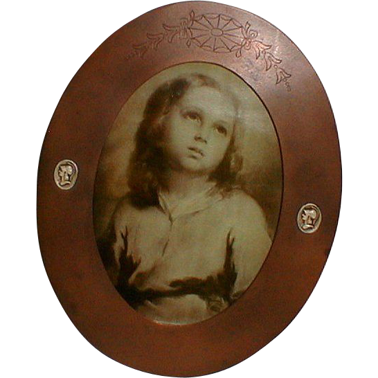 Athenic Bronze ARTS  CRAFTS Oval Frame