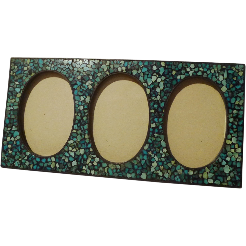 Inlaid TURQUOISE Triple Oval Horizontal Brass Frame