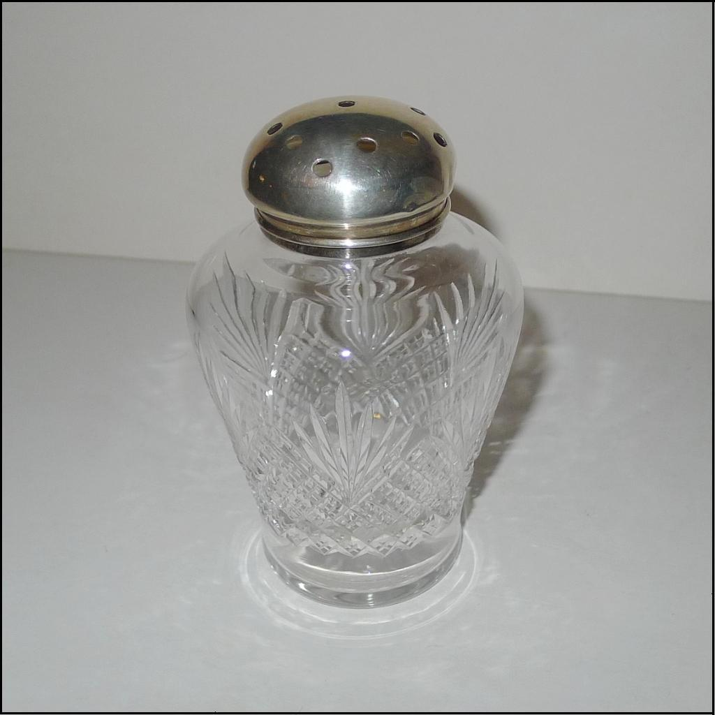 STERLING Top Cut Glass Muffineer [Sugar Shaker] Vintage