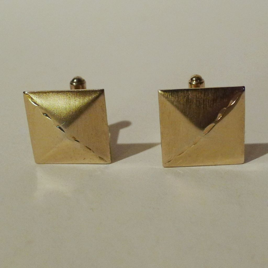 STERLING Vermeil Cufflinks 1950s 4 grams