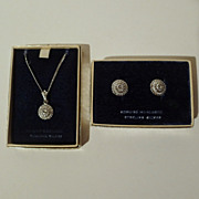 MARCASITE and Sterling Matching 1950s Pendant, Chain  & Earrings
