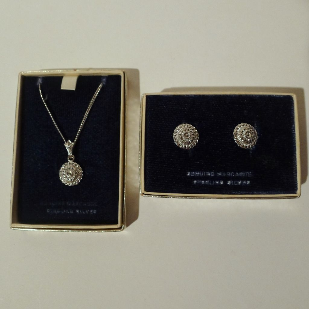 MARCASITE Sterling 1950s Pendant, Chain, Earrings Set