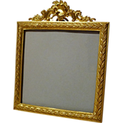 Mini Square Antique French Dore  Bronze Portrait/Picture Frame ca. 1870