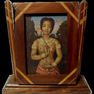 FOLK ART Inlaid Wood Swivel Picture Frame   ca.1915