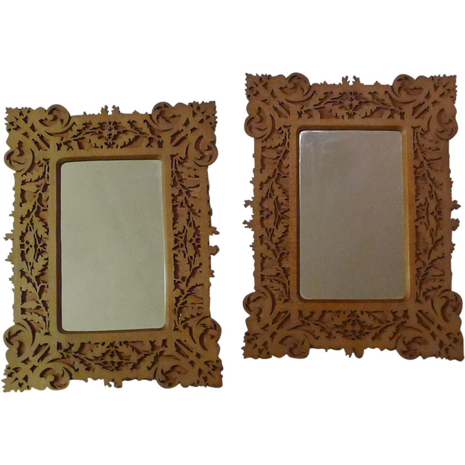 Fretwork Scroll-Saw 1880s Picture Frames Pair
