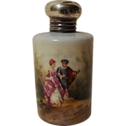 Miniature Porcelain Hand-Painted Perfume w/ Sterling Top  19th C.