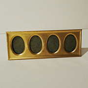 "Brass ""Postage Stamp"" Vintage 4-Opening Horizontal  Picture  Frame"