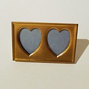 """POSTAGE STAMP"" Brass Frame w/ 2 Heart-Shaped Openings"