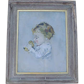 Girl and Chick Oil Painting after Maud Fangel