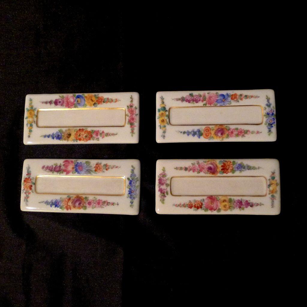 4 DRESDEN  Porcelain Floral Place Cards