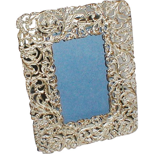 FILIGREE Miniature Silverplated Picture Frame ca. 1890s