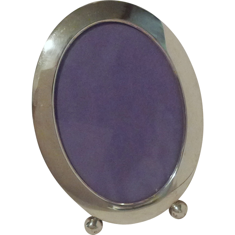 "ART DECO Oval Sterling Picture  Frame 6 3/4"" Tall"