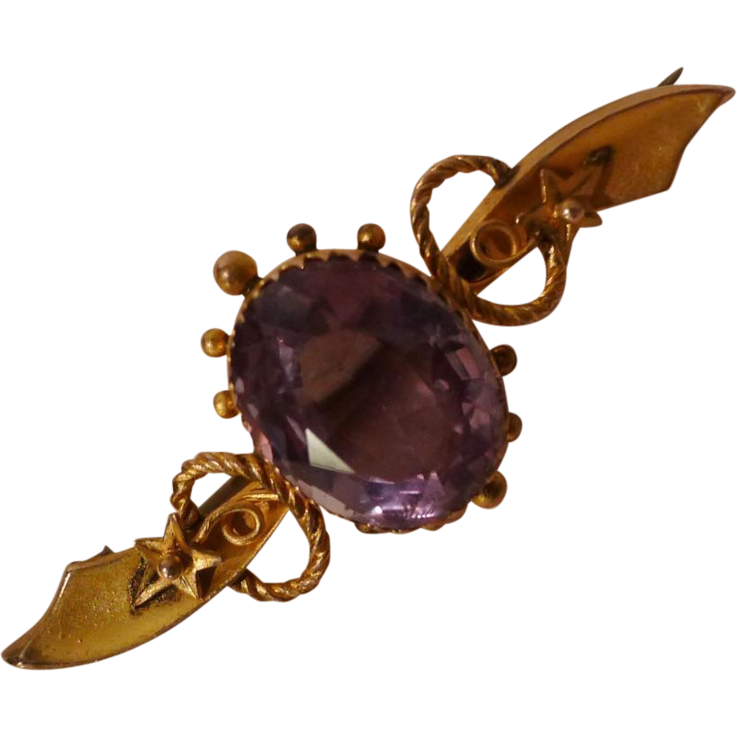 9 KARAT GOLD Pin with Amethyst ca. 1860s