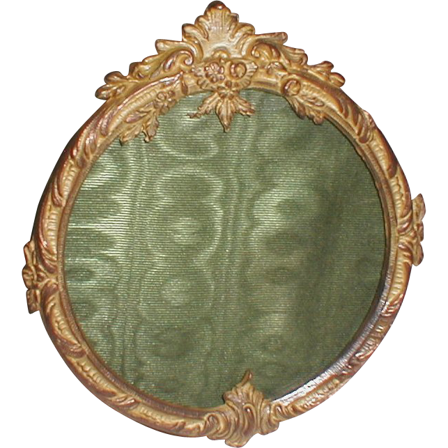 French DORE BRONZE Round Picture Frame 19th C.