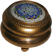 MOSAIC  Round Brass Box with Ball Feet Vintage