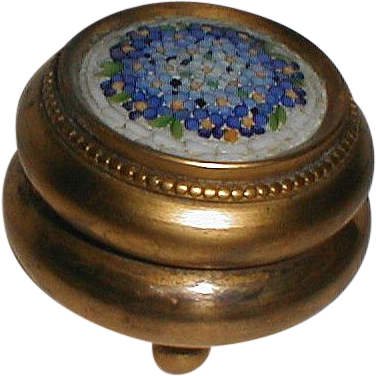 MOSAIC  Round Brass Box with Ball Feet Vintage