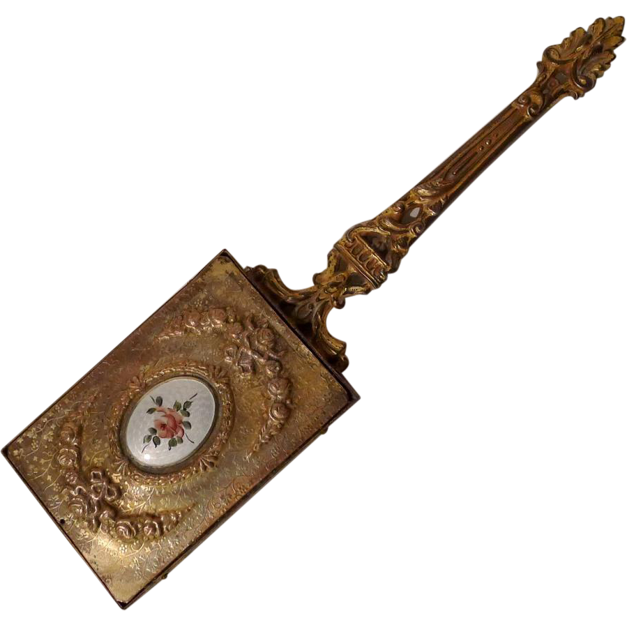 Gold-Plated  Antique French Guilloche ENAMEL Hand Mirror