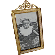 English Brass Gold-Plated Antique Miniature Photo Frame