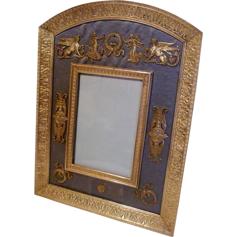 French Dore BRONZE Frame w/Silk and Ornaments ca. 1890