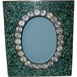 """Turquoise Inlaid MOSAIC Spandrel Frame with """"Stones""""    5.5"""" Tall"""
