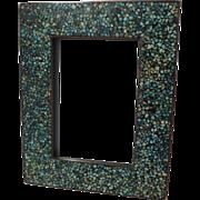 "TURQUOISE Inlaid Mosaic Frame 5 7/8"" Antique"