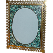 "TURQUOISE Inlaid Mosaic Frame  Filigree Border 6 3/8"" tall"
