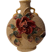 "Floral Majolica  9"" Pillow Vase Late 19th C."