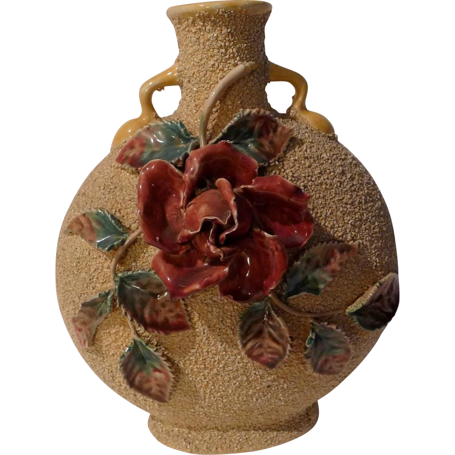 """Floral Majolica  9"""" Pillow Vase Late 19th C."""