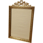 """FRENCH Bronze Torch/Bow Top Picture Frame 7 3/8"""" Tall  ca. 1890s"""
