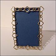 "English Brass RING Frame Unusual Pattern 7 7/8"" Tall ca. 1890s"