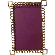 "English Brass ""RING"" Frame Square Corners 7 3/4"" Tall ca. 1890s"