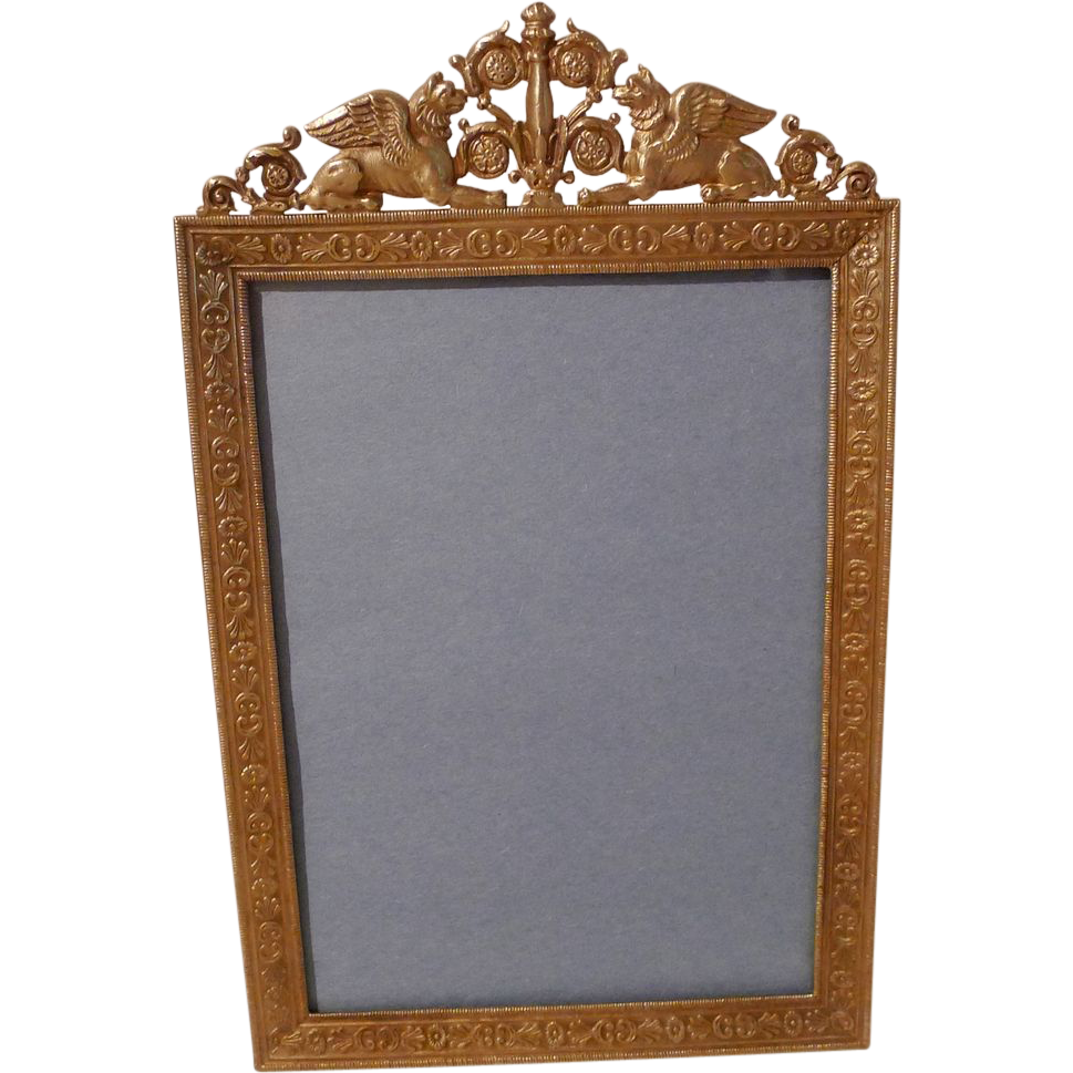"FRENCH BRONZE ""Winged Lion"" Antique Picture Frame"