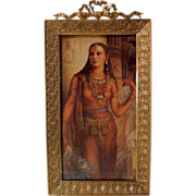 """Dore FRENCH BRONZE Antique Picture Frame 5"""" X 9 1/2"""" w/ Bow"""