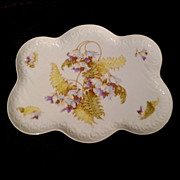 FERN and ANEMONE Porcelain Perfume Tray ca. 1890
