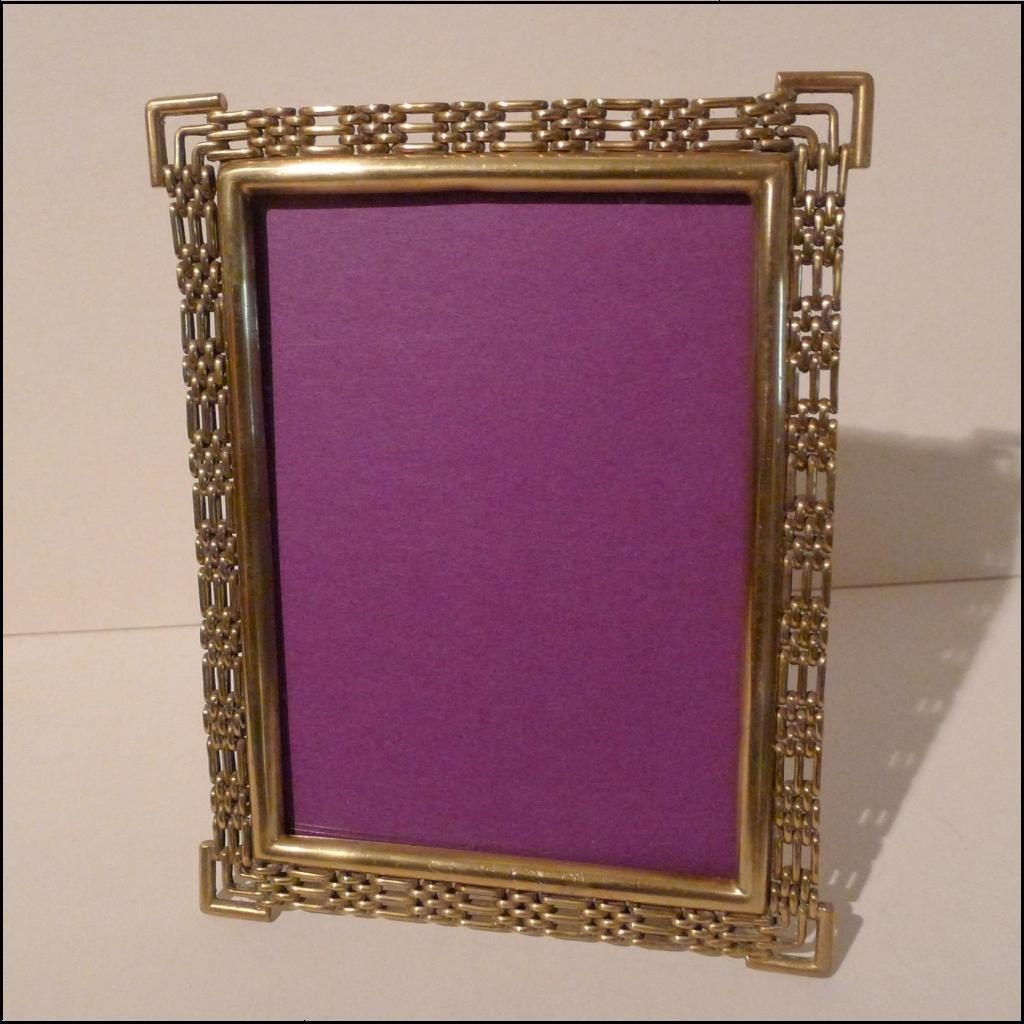 antique english brass chain link or ring picture frame