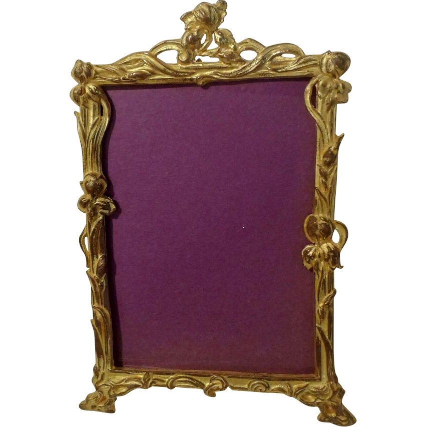 Antique ART NOUVEAU Gold-Plated Iris Frame