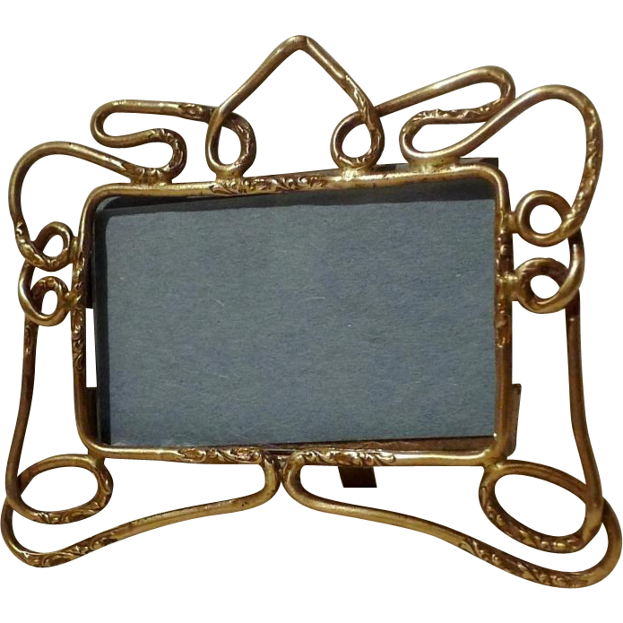 ANTIQUE Miniature Horizontal Art Nouveau English Brass Frame