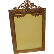 "ANTIQUE ""French Style"" Garland Picture Frame Convex Glass"