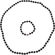 "Onyx and 14 Karat Gold 30"" Necklace and Bracelet"