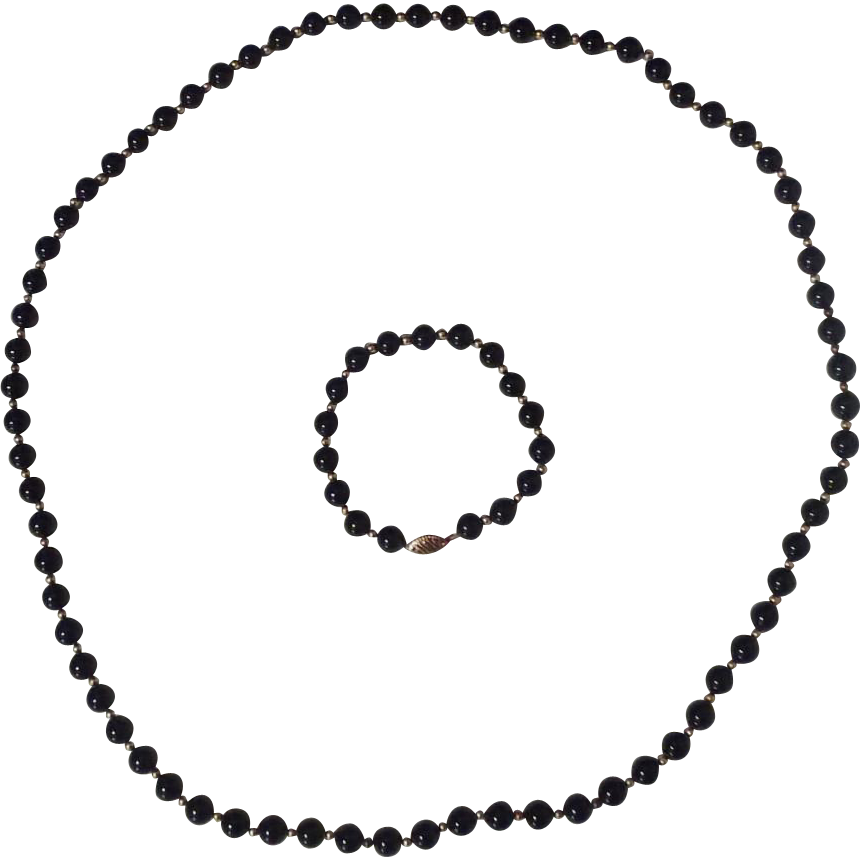 "Onyx and 14 Karat Gold 30"" Necklace and Bracelet"