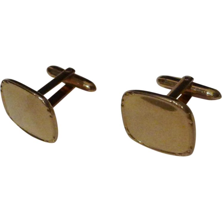 """Correct Quality""  Krementz  marked GOLD-FILLED  Men's Vintage Cufflinks"